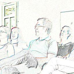 Stiftzeichung von teilnehmerInnen im Kurs von Stepout und Lucas Derks